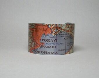 Tokyo Japan Cuff Bracelet Vintage Map Unique Travel Gift for Men or Women