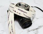 dSLR Camera Strap - Grey and White Feathers - Grey Camera Strap dSLR - Grey Watercolor Feathers
