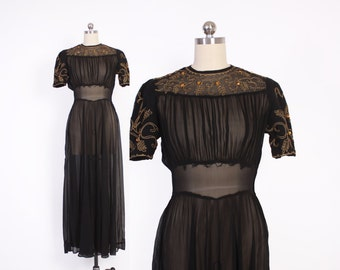 Vintage 40s Evening Gown / 1940s Sheer Black Embroidered Amber Rhinestone Silk Chiffon Dress S