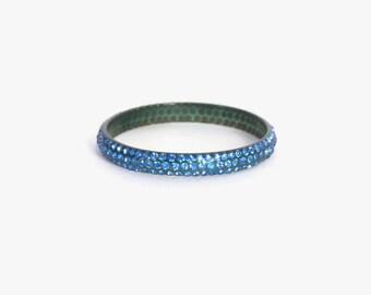 Vintage 20s 30s Celluloid BANGLE / 1930s Blue RHINESTONE Deco Flapper Bracelet