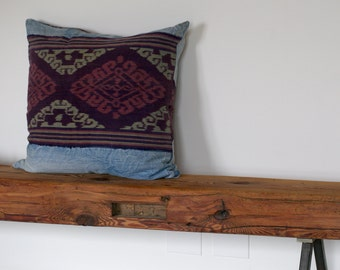 Indonesian Ikat and recycled jeans pillow cover - GENUINE IKAT