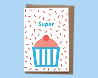 SUPER Greetings card + recycled envelope