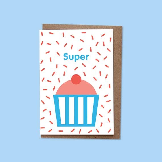 SUPER Greetings card + recycled envelope