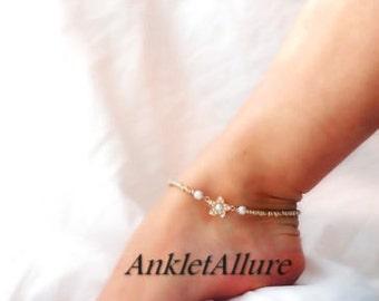 Bridal Anklet Pearl Body Jewelry Flower Anklet Rhinestone Foot Jewerly Ankle Bracelet Gold Ankle Bracelet