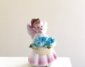 September Angel Figurine Vintage Ceramic Collectible - Inarco Japan 1960s - Gift for Girl - Birthday Gift Idea - Kitsch Mid Century Decor