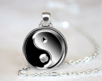 Glass Tile Necklace Ying Yang Necklace Black Jewelry Silver Necklace Silver Jewelry Ying Yang Jewelry