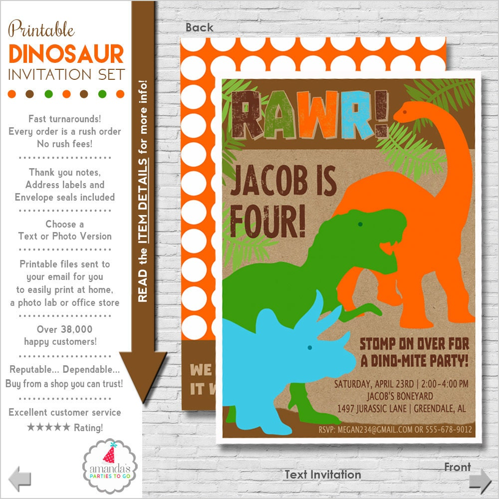 Versatile image in dinosaur invitations free printable