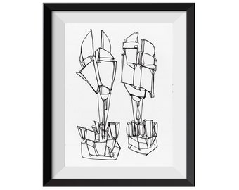 Fine Art Print, Black Line Drawing, Pen and Ink, Ink Drawing, Original Abstract Art, Abstract Line, Original Abstract Giclee Print