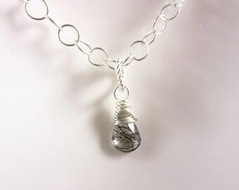 S - TINY Sterling Silver Charms - Black Tourmalinated Quartz Pendant - Natural Black Tourmaline - Clear Quartz Charms - Healing Crystals