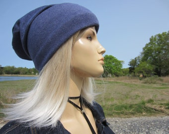 Wide Cuff Hat Cashmere Cotton Knit Beanie Women's Slouchy Blue Skull Cap by Vacationhouse A1576