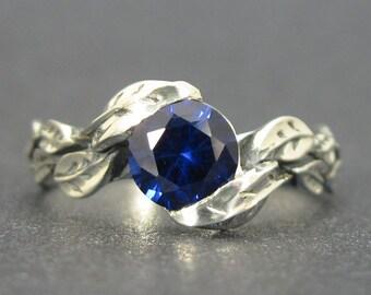 Sapphire Ring, Leaf Sapphire Ring, Sapphire Leaf Ring, Leaf Ring With Sapphire, Forest Leaves Ring, Silver Friendship Sapphire Promise Ring