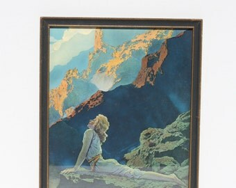 """Vintage Maxfield Parrish""""WILD GEESE"""" Framed Reinthal & Newman, N.Y. House Of Art Print Lithograph Original Period Frame"""