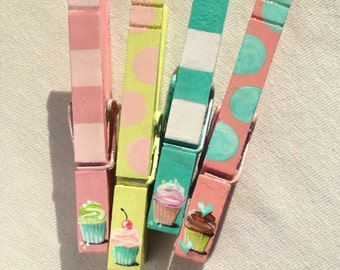 CUPCAKES aqua pink party favor hand painted magnetic clothespins