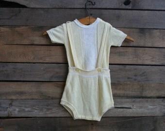 Vintage Unisex Children's Yellow & White Suspender Romper Donmoor Size 9 Months