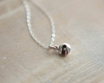 Tiny Fortune Cookie Necklace - Sterling Silver - Layering Necklace - Good Fortune - Good Luck Charm - Graduation Gift