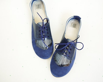 Fringed Oxfords Shoes Handmade Navy Blue Leather Laced Shoes