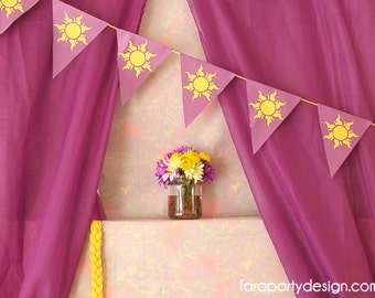 Rapunzel Birthday Party- Printable Sun Flag Banner by Fara Party Design | Tangled Party