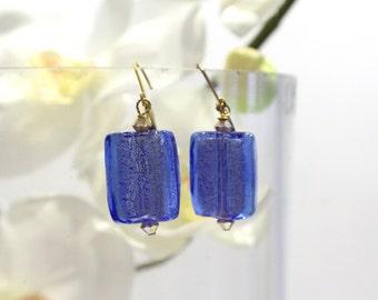 Cobalt Blue Venetian Murano Glass Rectangle Earrings. with Swarovski Crystal