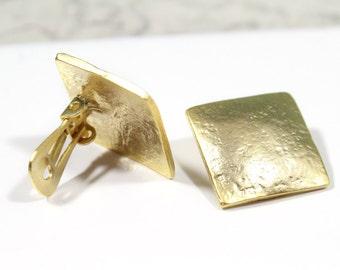 Gold Square Clip On Earrings, 24k Gold Pewter Square Earrings