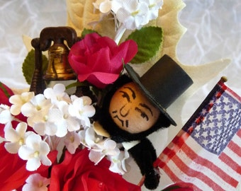 Patriotic Corsage Vintage Spun Cotton Abraham Lincoln Liberty Bell 4th of July Decoration Election Keepsake American Flag Convention Wear