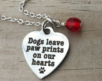 "Dog Lover Necklace- ""Dogs leave paw prints on our hearts"" laser etched charm with an accent bead in your choice of colors"