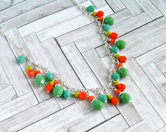 beaded necklace, colorful necklace, statement, gifts for her