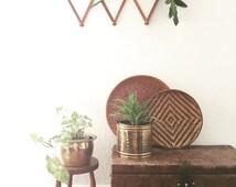 vintage hollywood regency hammered brass planter / flower pot / india