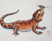 ACEO Cricket Head - Bearded Dragon Art - Archival Print