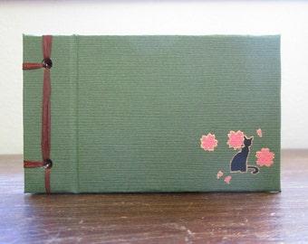 Mini Black Cat Book - Sakura or Maple - Side Bound Hardcover Handmade Blank Book