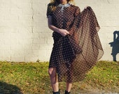 chocolate brown polkadot light cotton button back mid century 1950s ladylike sweet darling dress size small pretty mad men style retro dress