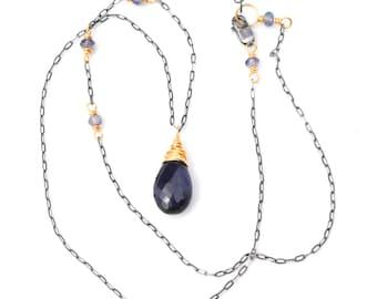 Iolite Pendant Necklace, AAA Dark Blue Iolite Briolette Pendant, Oxidized Silver & Gold Iolite Necklace