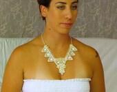 statement wedding necklace bridal jewelry vintage style bridal statement necklace pearl beaded lace collar necklace, Unique Bridal Jewelry