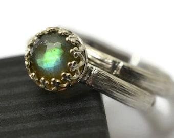 Gemstone Bridal Set, Honeycomb Labradorite Engagement Ring, Women's Silver Bamboo Wedding Band