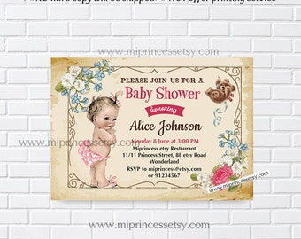 Baby Shower Invitation, retro vintage baby girl Retro baby shower invitation baby shower, baby girl Shower Design- 807