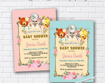 Baby shower Invitation, Vintage Deer, lamb, duck, shabby chic, girl baby shower, retro, cute baby shower, invitation - card 870