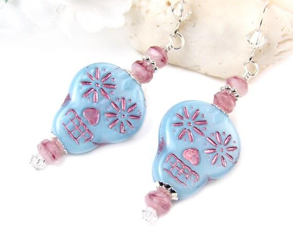 Blue Sugar Skull Earrings, Pink Accent Skull Earrings, Ornate Sugar Skull Earrings, Halloween Day of the Dead Dia de los Muertos Goth Boho