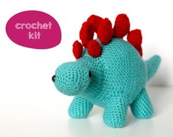 Stanley the Stegosaurus Dinosaur Crochet Kit. DIY Toy Crochet Kit.