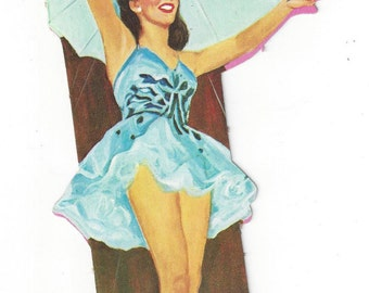 Tightrope Walker Circus Performer Vintage Die Cut Decoration, C1950s