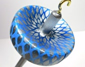 Hand Painted Maple Drop Spindle Silver Petal and Blue - Small