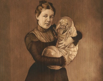 "Art Print, ""Woman and Child"", 11""x14"", grub, insect, vintage, cabinet card, portrait, sepia,"