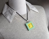 Ceramic Stamped Jewelry Pendant Necklace by Symmetrical Pottery