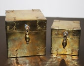Vintage Brass Stacking Boxes -  Hinged Square Boxes (lot of 2)