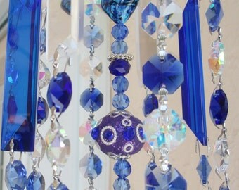 Crystal Prism Windchime - Blue  Crystal Wind Chime - Indoor or Outdoor - Crystal Blue Persuasion