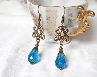 teal crystal earrings victorian style dangle earrings vintage style earrings chandelier earrings teal beaded earrings petrol bronze earrings