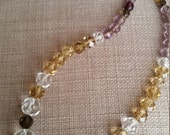 Valentines Day Vintage faceted white quartz, amethyst, citrine, peridot necklace