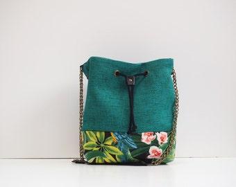 Bucket bag emerald green Handbag tropical printed panel handmade green black and colorful