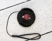 Camera Lens Cap Strap - Lens Cap Leash - Camera Lens Cap Holder - Photographer Gift - Red Twist