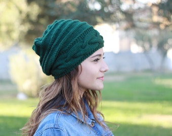 Emerald green Slouch hat, Slouch knit hat for women, Green Beanie Hat, Slouchy knit hat women, Slouchy hat, Knit Beanie