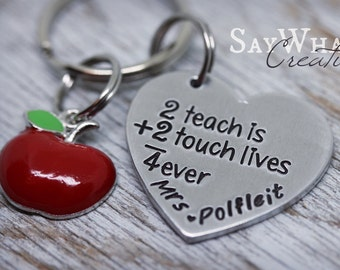 Teacher Gift Heart Key Chain with Apple Charm 2 Teach is 2 Touch Lives 4 Ever