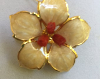 Gold Enameled Flower Pin and Necklace